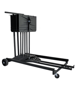 Model # 1980 The Harmony Stand Cart, with its horizontal rail framework, is designed to hold 15 of the horizontally stacking Harmony music stands.